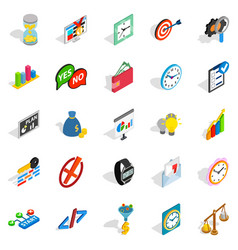 Index number icons set isometric style vector