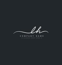 Initial letter lh logo - handwritten signature vector