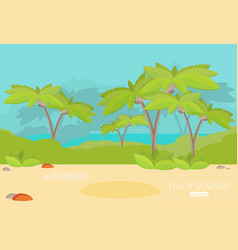 Jungle forest green landscape with sea flat vector