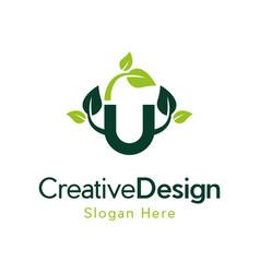 Letter u naturally creative business logo vector