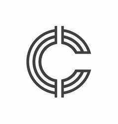 Line c logo design template vector