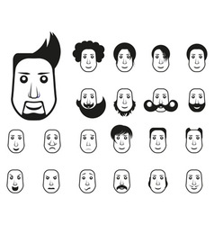 Male icons set with different hairstyle vector