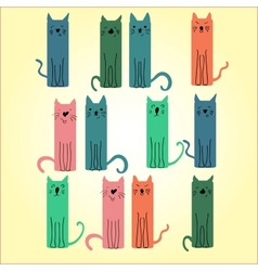 Many colored cat on a light background vector image vector image