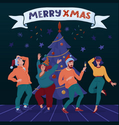 Merry christmas banner with four dancing people vector