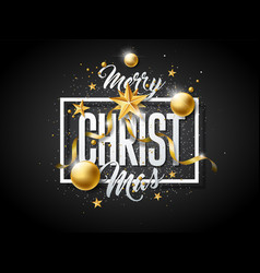 merry christmas with gold vector image