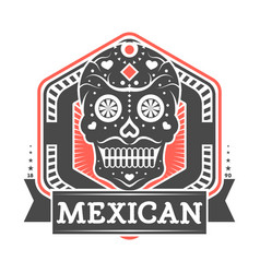 mexican vintage isolated label with skull vector image