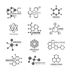 molecular logo chemistry dna molecule scientific vector image