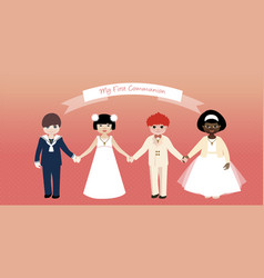 my first communion children set-03 vector image