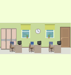 Office room interior including three work spaces vector