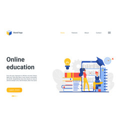 online education landing page educational mobile vector image