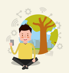 People smartphone device vector