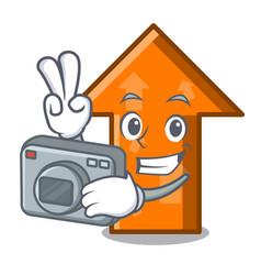 photographer arrow mascot cartoon style vector image