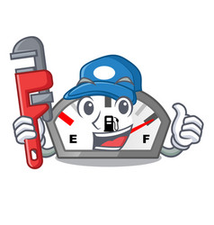 Plumber gasoline indicator in the a mascot vector