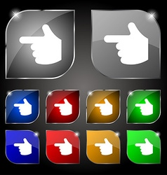 pointing hand icon sign Set of ten colorful vector image