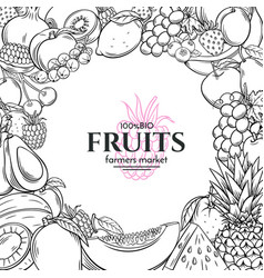 poster template with hand drawn fruits for vector image