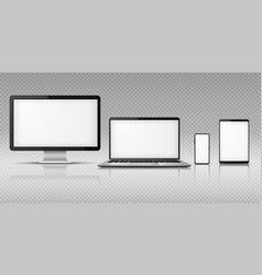 realistic computer laptop smartphone tablet vector image
