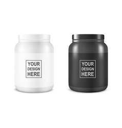 Realistic white and black plastic jar can vector