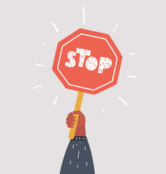 Road sign stop in hand vector