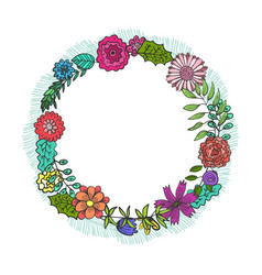 round frame with color doodle flowers and leaves vector image