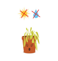 Sad potted plant character with crossed out water vector