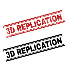 Scratched textured and clean 3d replication stamp vector