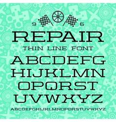 Serif font in thin line style vector image