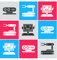 Set 3d scanning system robot and robot icon vector
