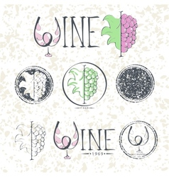 Set labels wine with grapes lettering and logo vector image