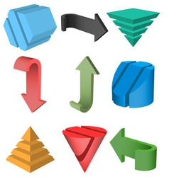 Set of 3D Geometric Shapes and Arrows vector image