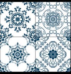 Set of 4 seamless indigo pattern of blue floor vector