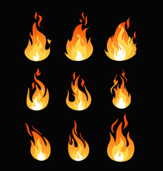 Set of fire flames different vector