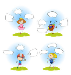 set of girl with speech bubble vector image