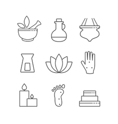 Set of linear outline alternative medicine and spa vector image