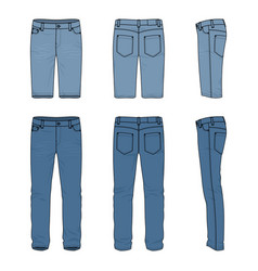 Set of male jeans and shorts vector