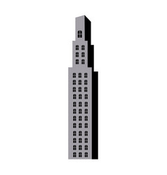 silhouette monochrome with building skyscraper vector image