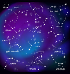 sky map constellations background vector image