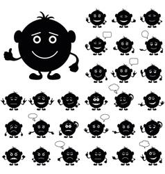 Smilies round set black vector