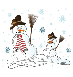 Snowman with snowflakes vector