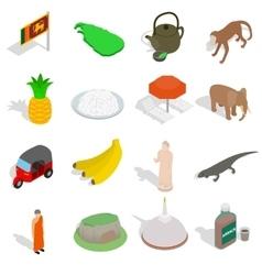 Sri-lanka icons set isometric 3d style vector