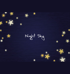 star on night sky wood board background vector image