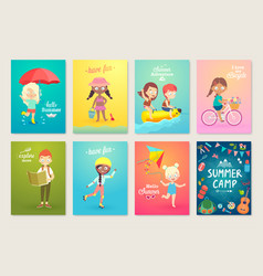summer kids card set swimming playing on the vector image