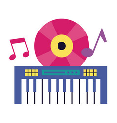 synthesizer vinyl music festival on white vector image