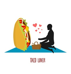 Taco lover Mexican food at picnic Rendezvous in vector image
