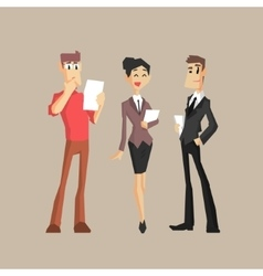 Three office workers vector