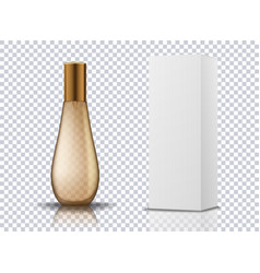 Transparent gold perfume cosmetic bottle container vector