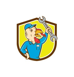 Turkey Mechanic Spanner Shield Cartoon vector image