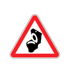 Warning wc toilet bowl on red triangle road sign vector
