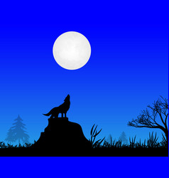 Wolf howls to moon vector