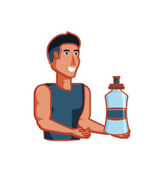 young athletic man with bottle of water vector image