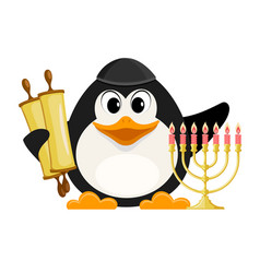 Young jew with torah and hanukkah candle holder vector